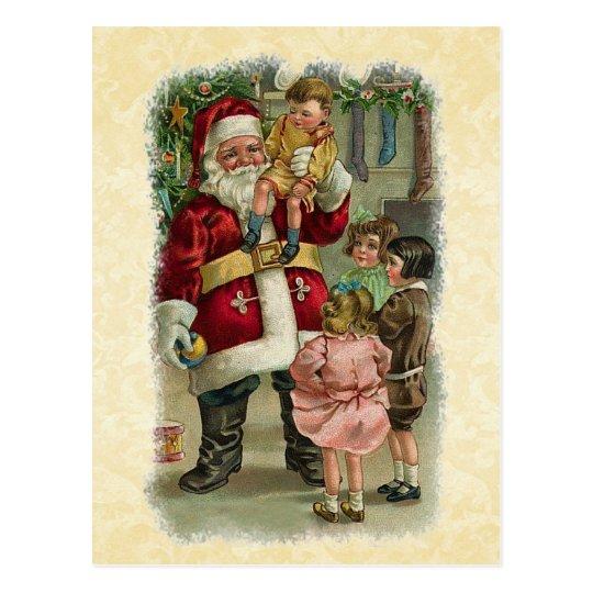 Vintage Illustration Santa with Children V01 Postcard