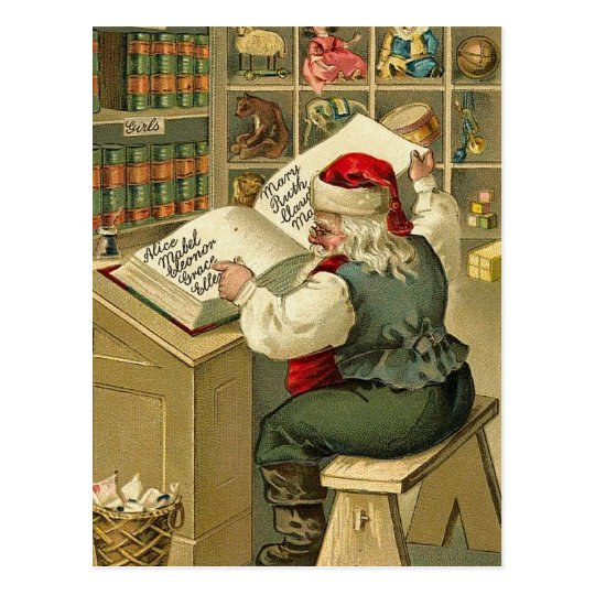 Vintage Illustration Santa with his Book V2 Postcard