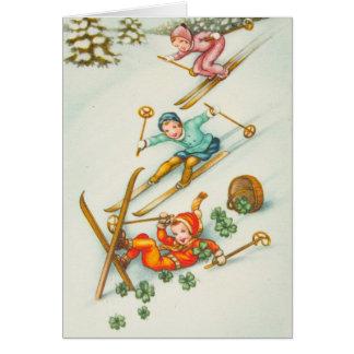 Vintage Illustration, Skiing Girls Greeting Card