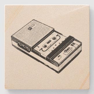 Vintage Illustration Tape Recorder Stone Coaster