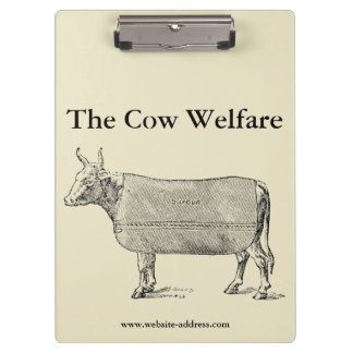 VINTAGE ILLUSTRATION The Cow Welfare Clipboard