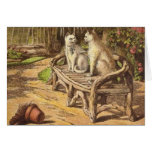 Vintage Illustration - The White Cat Adventure Greeting Cards