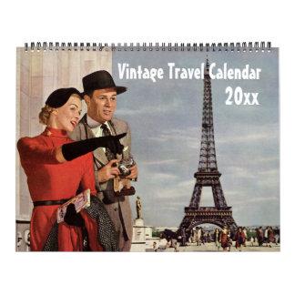 Vintage Illustration Travel and Transportation Wall Calendar