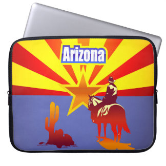 Vintage Illustration With Arizona State Flag Laptop Sleeve