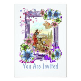 Vintage Illustration With Flowers 13 Cm X 18 Cm Invitation Card