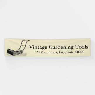 VINTAGE ILLUSTRATIONS Lawn Mower Banner