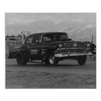 vintage image 57 chevy gasser poster