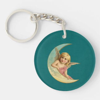 Vintage Image - Angel Sitting on a Crescent Moon Acrylic Key Chains
