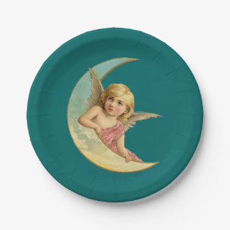 Vintage Image - Angel Sitting on a Crescent Moon 7 Inch Paper Plate