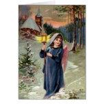 Vintage Image - Christmas Angel Lighting the Way Card
