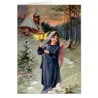 Vintage Image - Christmas Angel Lighting the Way Greeting Card