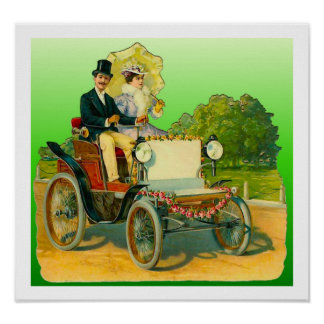 Vintage Image Couple and Antique Car Poster