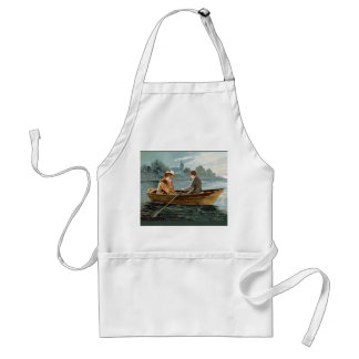 Vintage image, couple on the river standard apron