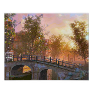 Vintage image, Delft, bridge over a canal Poster