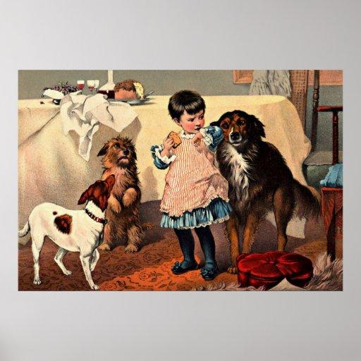 Vintage Image - Dogs Begging Poster