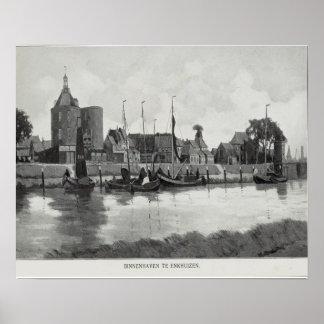 Vintage image, Enkhuizen Binnenhaven Poster