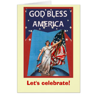 Vintage image,Fly the flag of Liberty Greeting Card