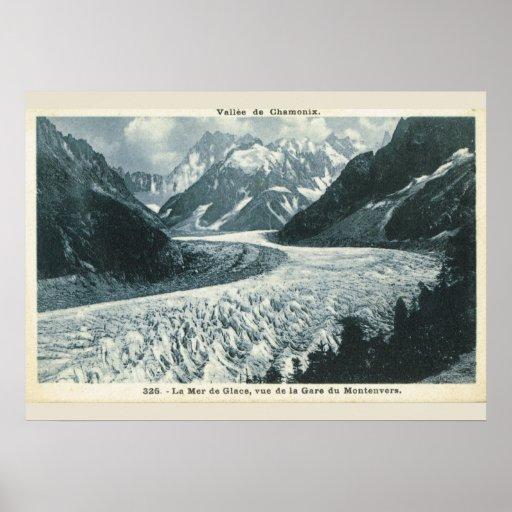 Vintage image, France, Chamonix, Mont Blanc Poster