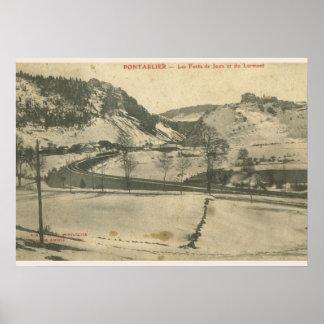 Vintage image France Pontarlier winter Print