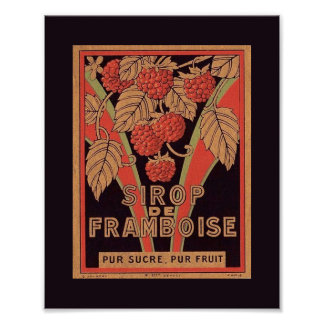 Vintage Image French RASPBERRY SYRUP Label POSTER