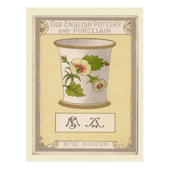 Vintage image, Old English pottery, Minton Postcard