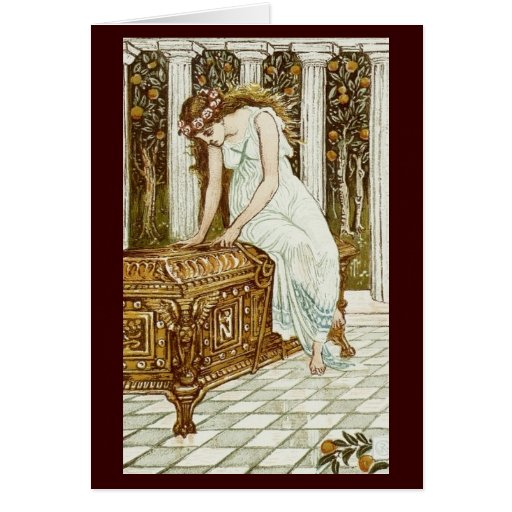 Vintage Image - Pandora and the Forbidden Box Greeting Cards