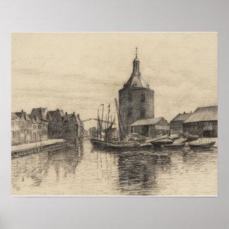 Vintage image, pencil sketch, Enkhuizen harbour Poster