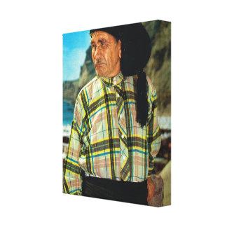 Vintage image, Portugal, Nazare, fisherman Stretched Canvas Prints