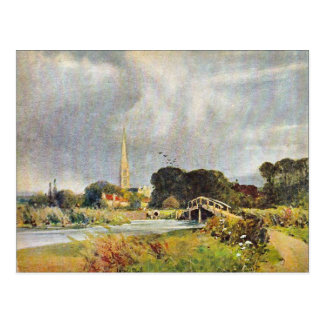 Vintage image, Salisbury Cathedral and river, 1905 Postcard