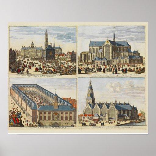 Vintage image, sights of Amsterdam Poster