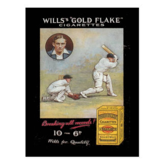 Vintage image,  Wills Gold Flake Tobacco, Cricket Postcard