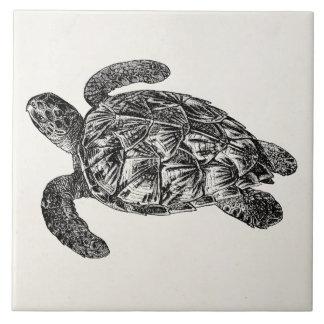 Vintage Imbricated Sea Turtle - Turtles Template Tile