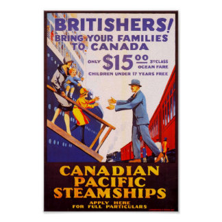 Vintage Immigration poster to Canada