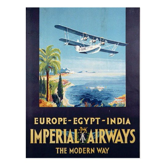 Vintage Imperial Airways Europe Egypt India Travel Postcard