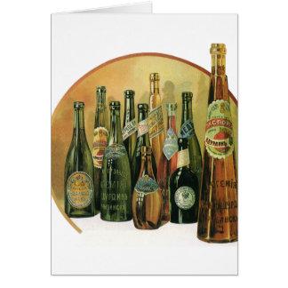 Vintage Imported Beer Bottles, Alcohol, Beverages Card