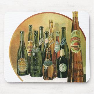 Vintage Imported Beer Bottles, Alcohol, Beverages Mouse Mat