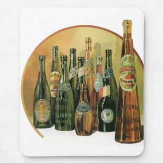 Vintage Imported Beer Bottles, Alcohol, Beverages Mousepad