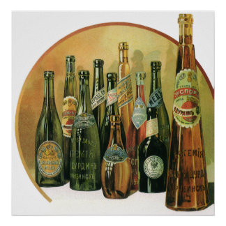 Vintage Imported Beer Bottles, Alcohol, Beverages Poster
