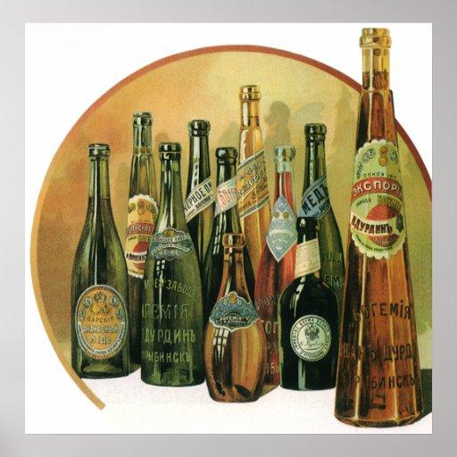 Vintage Imported Beer Bottles, Alcohol, Beverages Poster