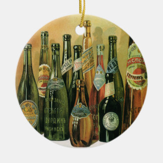 Vintage Imported Beer Bottles, Alcohol, Beverages Round Ceramic Decoration