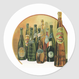 Vintage Imported Beer Bottles, Alcohol, Beverages Round Sticker