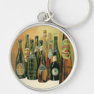 Vintage Imported Beer Bottles, Alcohol, Beverages Silver-Colored Round Key Ring