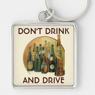 Vintage Imported Beer Bottles, Alcohol, Beverages Silver-Colored Square Key Ring