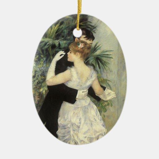 Vintage Impressionism Art, City Dance by Renoir Ceramic Oval Decoration