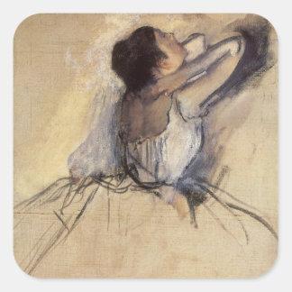 Vintage Impressionism Ballet Dancer by Edgar Degas Square Sticker