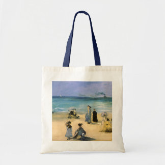 Vintage Impressionism, Beach at Boulogne by Manet Budget Tote Bag