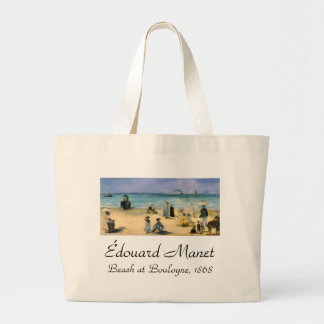 Vintage Impressionism, Beach at Boulogne by Manet Jumbo Tote Bag