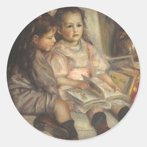 Vintage Impressionism, Children Portrait by Renoir Round Sticker