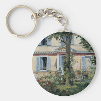 Vintage Impressionism, House at Rueil by Manet Basic Round Button Key Ring