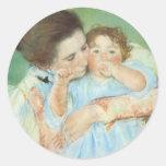 Vintage Impressionism, Mother and Child by Cassatt Round Sticker